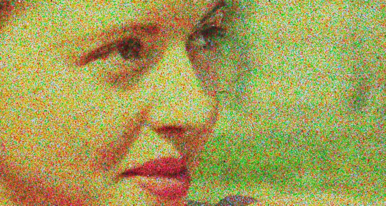 Détail du portrait. On distingue très bien les grains de couleurs.