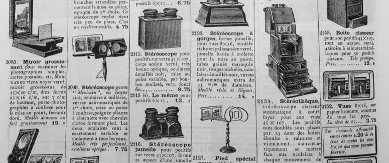 Stéréoscopes dans le catalogue de la Manufacture française d'armes et cycles de Saint-Etienne - 1910.