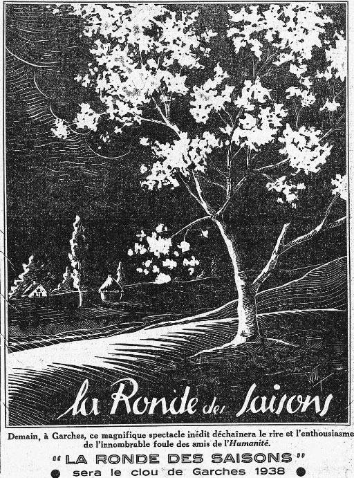 La ronde des saisons. Encart dans l'Humanité du 3 septembre 1938.